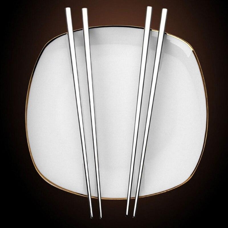 Палочки для еды прочные палочки для еды для кухни столовой из нержавеющей стали 5 пар квадратный декор стола для рождественской вечеринки белый фарфоровый ящик для яиц