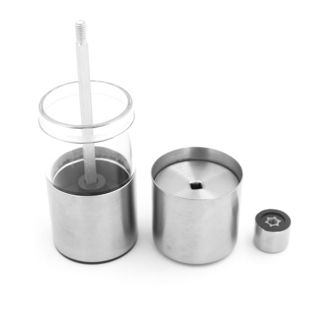 Stainless steel cylindrical pepper grinder 13.3 × 4.5 cm