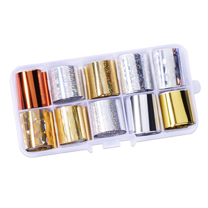 Image 5 - Lot de 10 pièces feuille de clou ciel étoilé (10 couleurs) papier holographique décalcomanies Nail Art transfert autocollant 2.5*100cm outils à ongles (10 pièces, 8)
