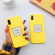 Funny LetterFEEL GOOD Painted Graphic Case For iPhone XS XR Max X 6 6S 7 8 Plus Yellow Back Cover Ultra Thin Matte Hard PC