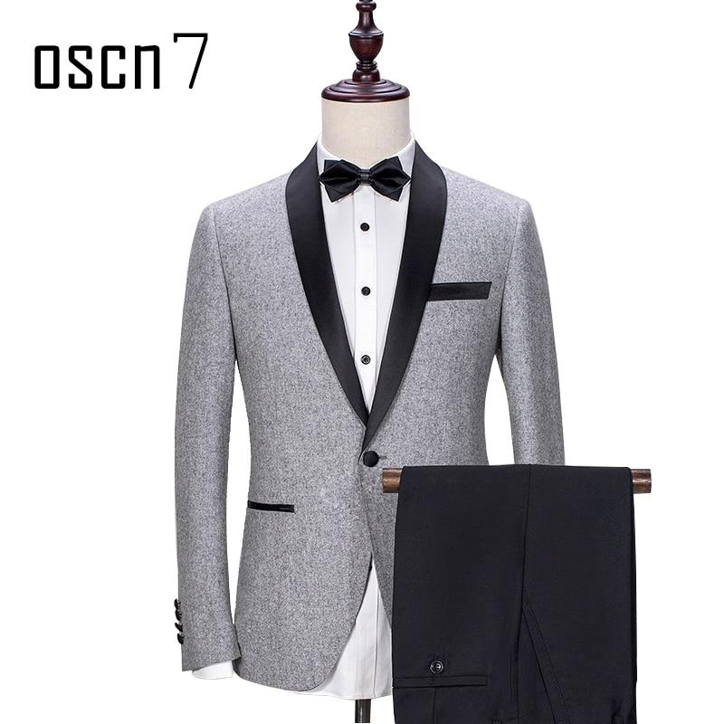OSCN7 Gris Sur Mesure Costume De Fête De Mariage 2 pièces Homme Costumes Sur Mesure pour Hommes Mode Terno Masculino