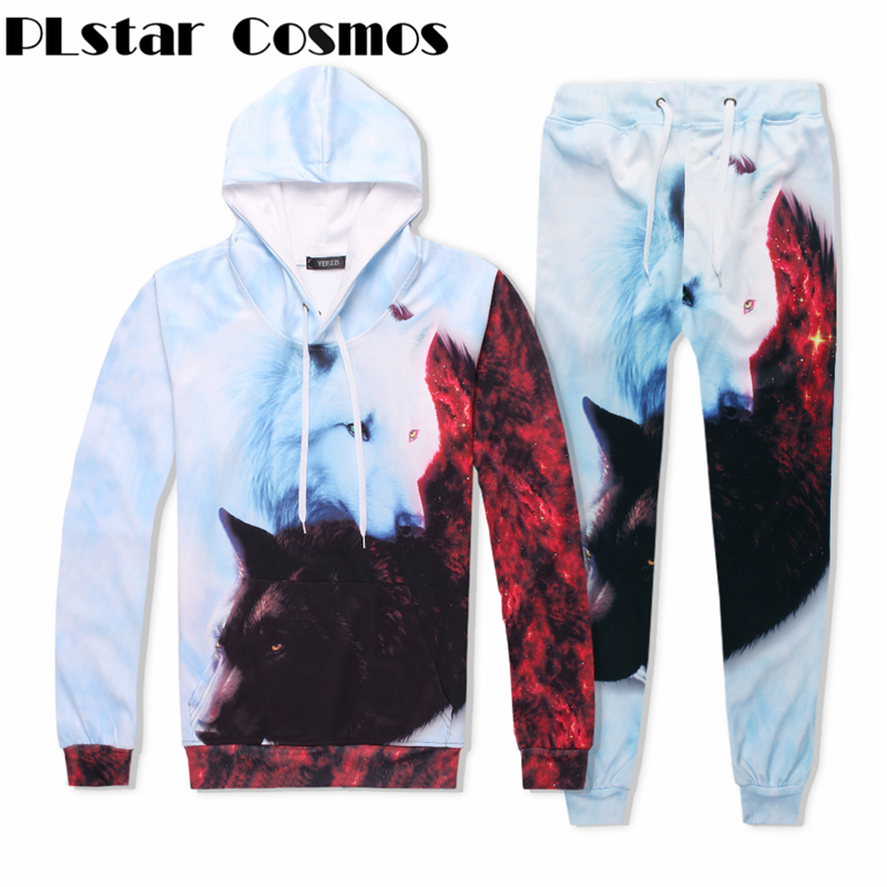 PLstar Cosmos Fashion brand White and black Wolf tracksuit men women winter casual clother 3d hoodies&pants 2 pieces size S-XXL