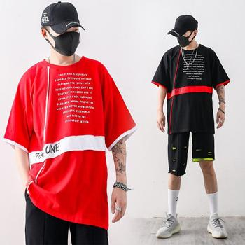 Originally European And American Students Hip Hop Half-sleeve Collision Color Stitching Loose Large T-shirt