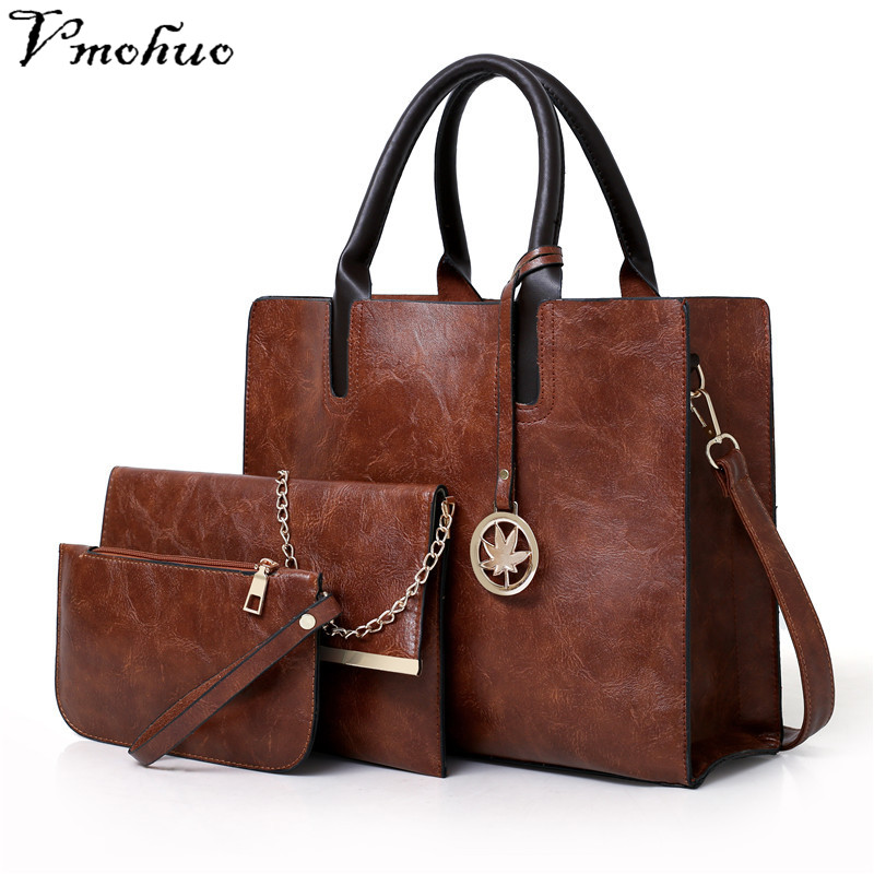 VMOHUO Women Bags Set 3pcs/set Leather Handbag Women Large Tote Bags Ladies Shoulder Bag Handbag Messenger Bag Purse Sac a Main 2018 women messenger bags vintage cross body shoulder purse women bag bolsa feminina handbag bags custom picture bags purse tote