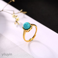 KJJEAXCMY boutique jewelryar S925 Sterling Silver gilded natural turquoise mosaic ring