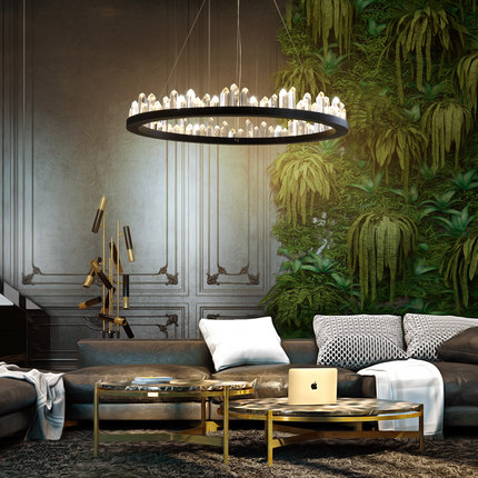LED American Crystal Chandelier Modern Chandeliers Lighting Fixture Round Parlor Dining Room Living Hanging Lamps
