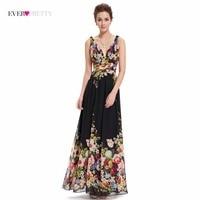 Sexy Double V neck Sleeveless Black Long Flower Print Chiffon Evening Dress 2018 Ever Pretty EP09016 Empire Waist Formal Gowns