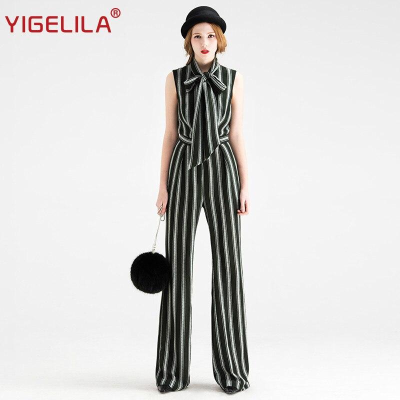 Automne De 5278 Toute Manches Col Salopette Mode Yigelila Dernière Striped La Longueur Arc Marque Femmes Sans Rayé XqTx5Ttf