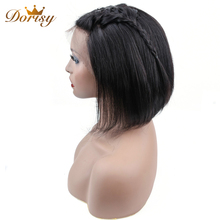 Short Human Hair Wigs Straight Human hair Wigs 13×4 Bob Wig For Women Short Hair Wig Natural Black Non Remy Straight Hair short side bang straight mixed color siv human hair wig