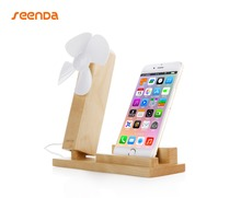 SeenDa For Mobile Phone or Tablet Holder with Mini Micro USB Electric fan for Phone Bamboo Wood Holder Stand