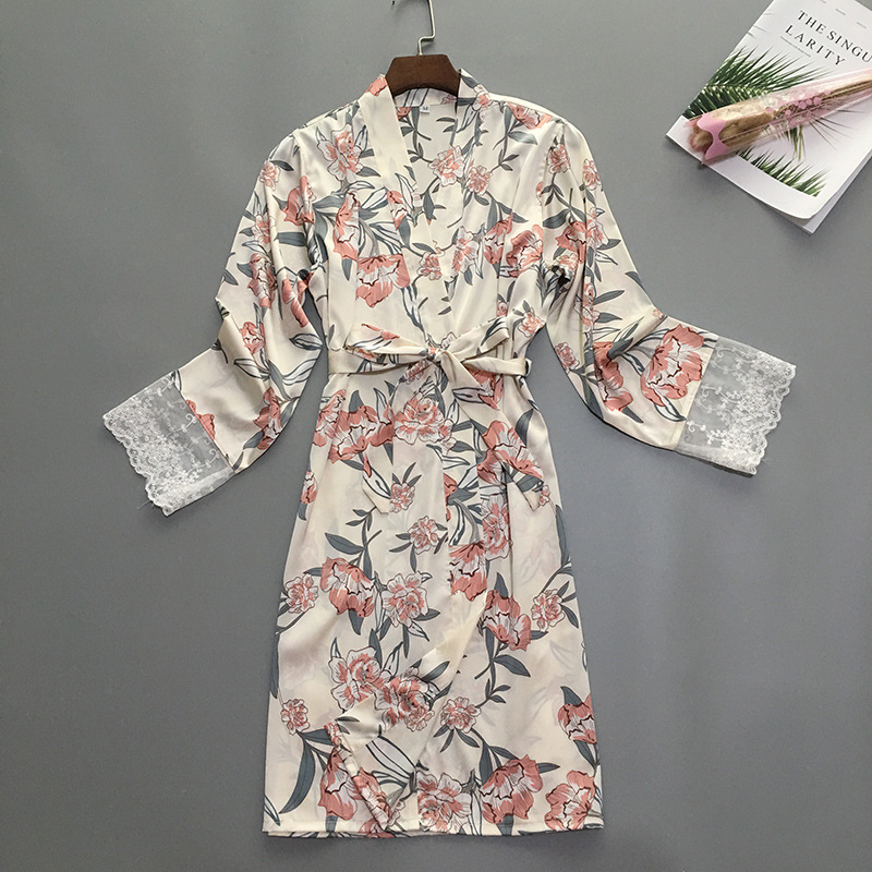 Robe Femme Silk Sleepwear Satin Bathrobe Kimono Home Dress Flower Robe Vintage Sexy Sleep Lounge Elegant Night Wear Women