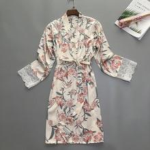 Bata de seda para mujer, ropa de dormir de satén, albornoz, Kimono, vestido para el hogar, vestido de flores, bata Vintage Sexy para dormir, ropa de noche elegante para mujer