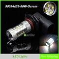 80 W 9005 Alta Brillante Coche LED de Conducción Diurna Luz, HB3 Niebla de La Cabeza de La Lámpara DRL Del Bulbo LED de Luces Exteriores Envío Gratuito