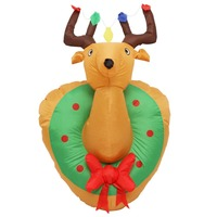 120cm 4Foot Giant Deer Head Pendant LED Lighted Inflatable Toys Christmas Halloween Party Props Outdoor Yard