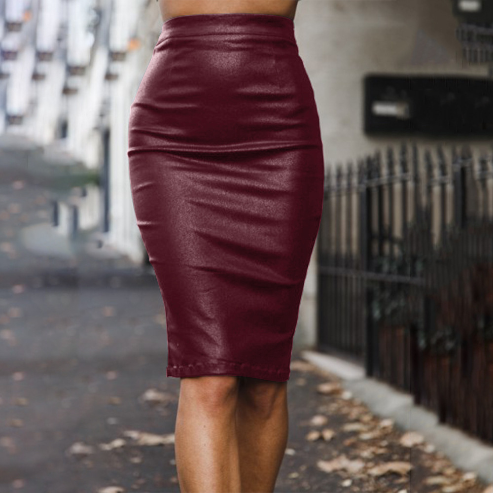 Casual Solid Slim Women Skirts Sexy Bodycon Empire Waist Package Hip PU Skirt Women Vintage Pencil Slim Back Split Outwear Shirt