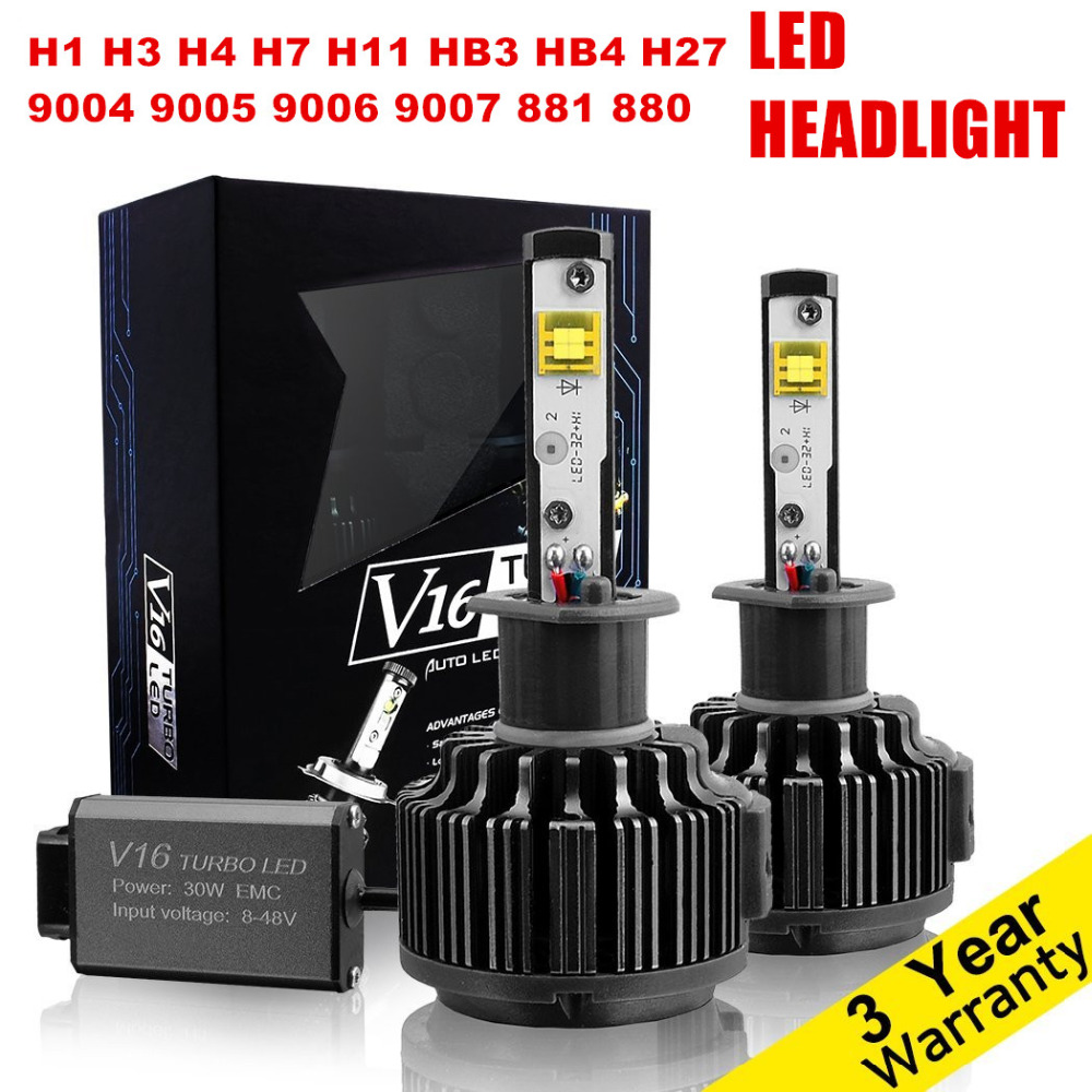 Pair Car LED Headlight H4 H7 H11 H1 H3 H8 H9 H10 HB3 9005 HB4 9006 H27 881 9004 9007 H13 Auto LED Headlights bulb conversion kit possbay h11 h9 h8 h1 9004 9007 9005 h7 h3 h13 60w 8000lm cob xm l2 led headlight kit beam bulbs 3500k high power waterproof