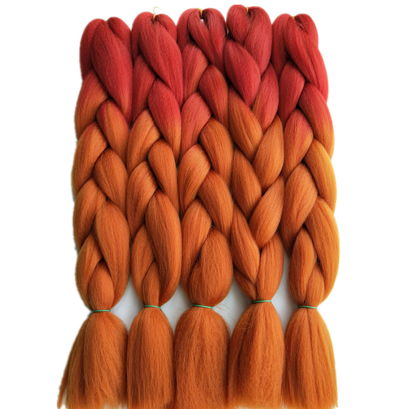 Pervado Hair Light Brown Blonde Ombre Kanekalon Braiding Hair Extensions One Piece 100g/pack 24inch 65cm Synthetic Jumbo Braids Pleasant To The Palate Hair Braids