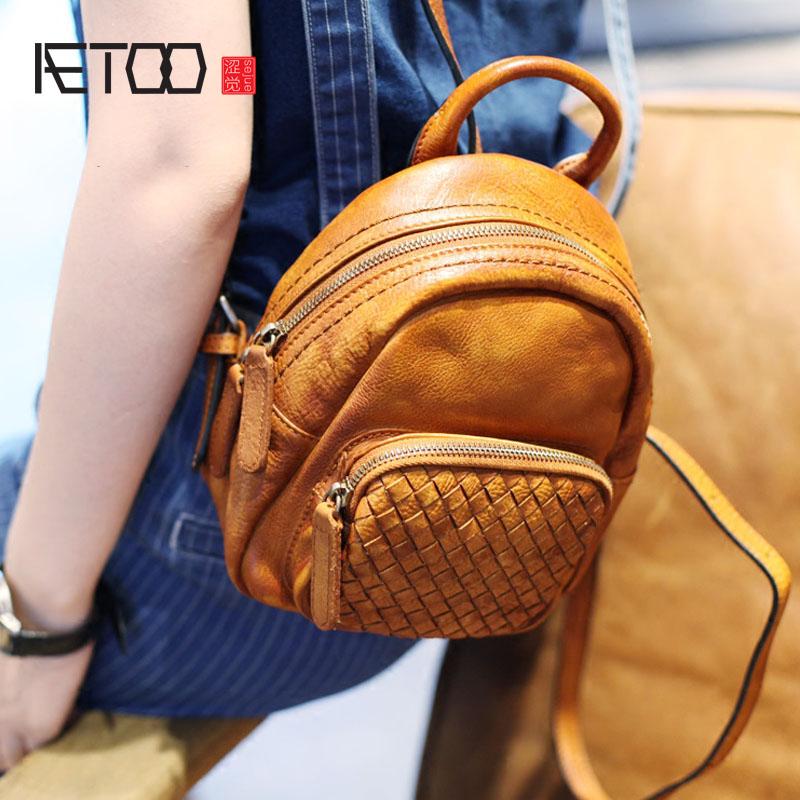 AETOO Retro art handmade leather small 2017 new leather mini wild braided shells shoulder bag aetoo 2017 new 100
