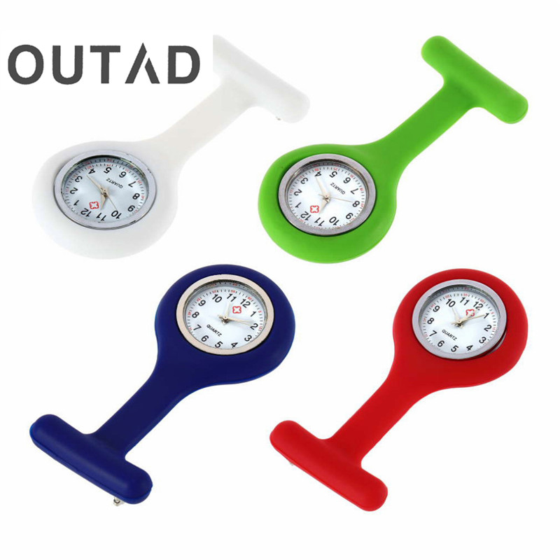 OUTAD 1Pcs Nurses Pocket watch Mini Portable Silicone Doctor Fob Watch Multiple Colors Brooch Pin Pendant 4 clock 1pc mini portable silicone men women unisex watch doctor nurses pocket fob watches multiple colors brooch pin pendant 4 color