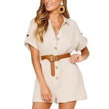 789ac3e5714e Summer Jumpsuit women Rompers Casual Cotton Linen Bodysuit Buttons Short  Sleeve Playsuit Turn-Down Collar