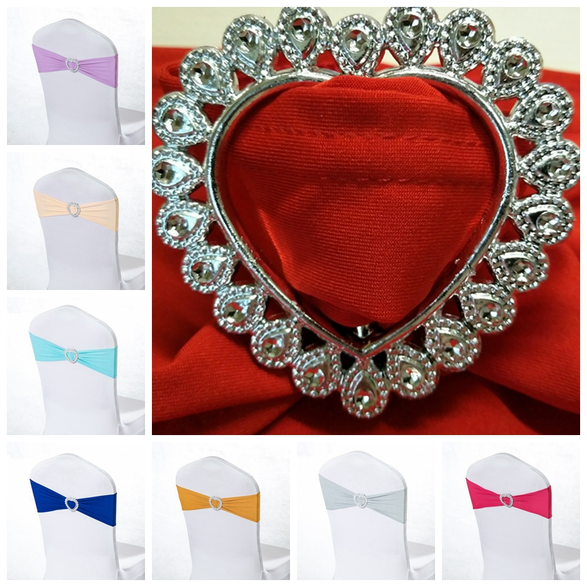 20 Colours Spandex Chair Sash Wedding Chair Sashes With Love Heart Buckle Lycra Stretch Chair Band Universal Hotel Party