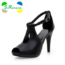 S.Romance Plus Size 30-43 New Arrival Hot Fashion Office Summer Women Pumps High Heel Sandals Casual Women Shoes Black SS220(China)