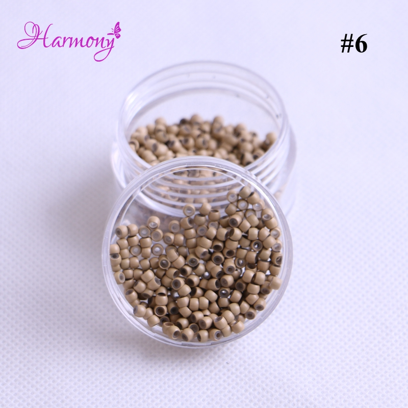 4 jars 2000pcs Copper Silicone Nano micro beads/rings/links RInglets for Pre Bonded Nano Tip Tipped 2.9mm 7 color optional