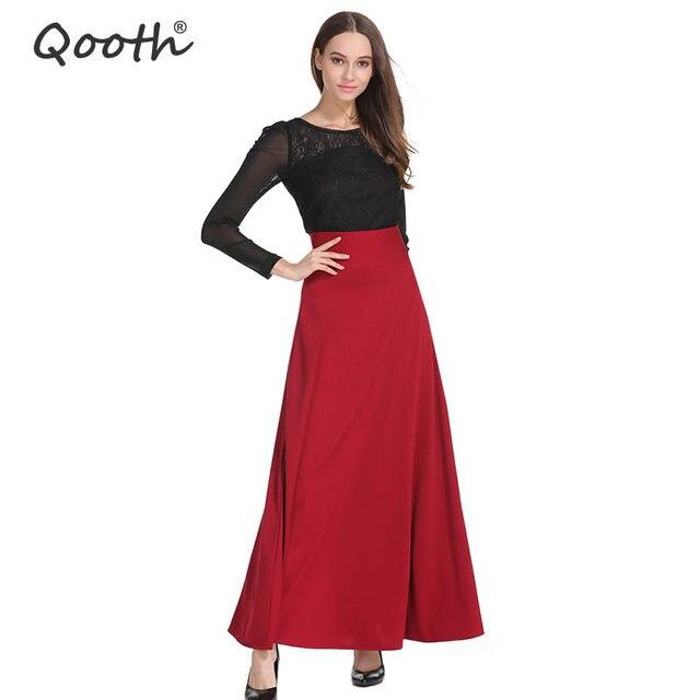 1443a0e889f9f3 US $24.62  Autumn Winter Women's Long Skirt Ankle Length A line Skirt 2017  Girl's New Wine Red Skirt Lady Elastic Waist Skirt QH651-in Skirts from ...