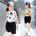 Kids girls sleeveless suit 2016 new summer children's cotton casual T-shirt big virgin piece shorts girl clothes 3-12 years