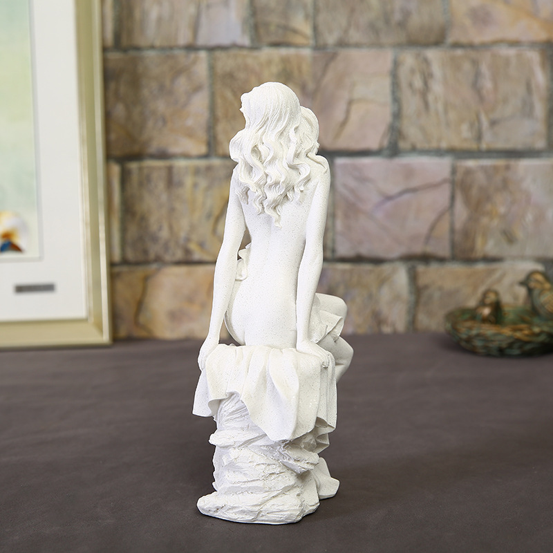 BUF Home Decoration Fashion Abstract White Sandstone Beauty Sculpture Ornament Handmade Wedding Decoration Statue Gift Sculpture