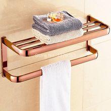 Настенное крепление роскошные розовое золото, латунь Ванная комната Ванны Комплектующие большой Полотенца бар железнодорожный держатель Ванная комната установки аксессуаров aba865