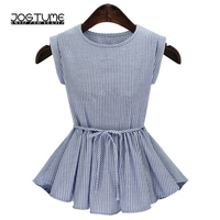 Womens Striped Blouses Blue 2018 Summer New Style Female Slim Tops Adjustable Waist Sexy Sleeveless Ladies