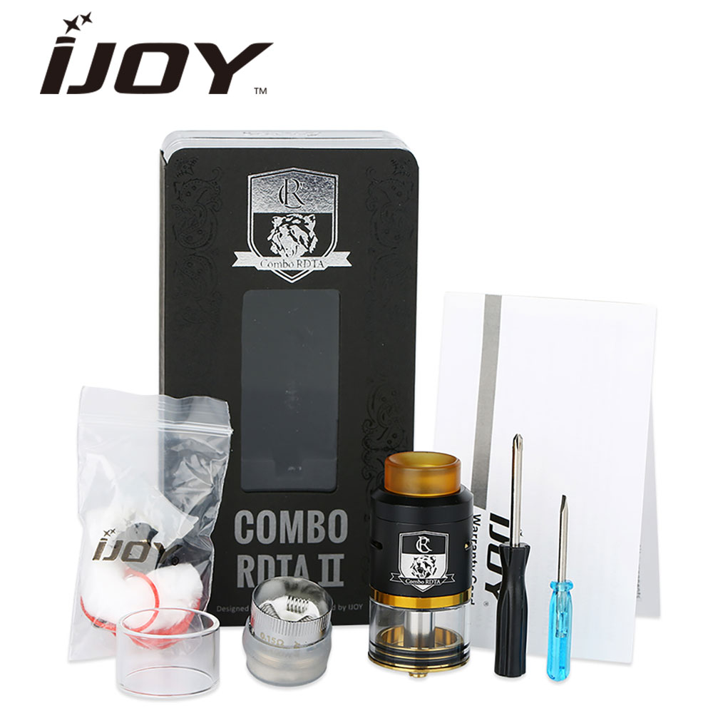 Original IJOY COMBO RDTA 2 Tank 6.5ml Capacity Interchangeable Gold-Plated Deck e cigs Atomizer vs IJOY RDTA 5 Tank original wotofo serpent rdta rta tank 2 5ml capacity top filling rebuildable tank atomizer clamped build deck e cig rdta atomize