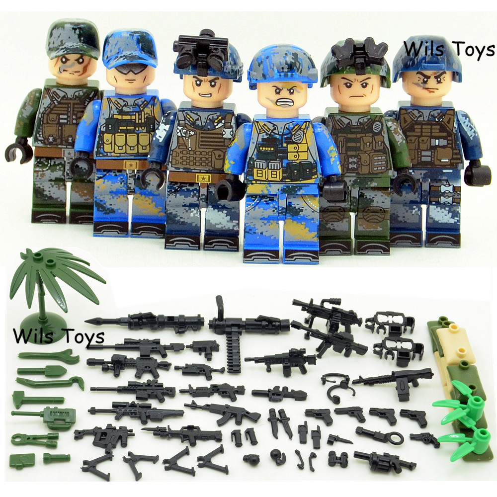 6pcs Navy Army Air Force Military WW2 SWAT Seals Team Soldiers Heavy Fire CS Building Blocks Figures Educational Toys Boys Gifts
