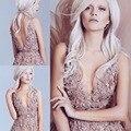 Vintage Vestidos de Noche 2016 Una Línea de Hundimiento V Cuello Apliques de Encaje Floral Blusa Sin Espalda Tulle Modest Prom Vestidos Del Partido