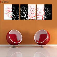 CLSTROSE Luxry Unframed 3 Panels Cheap Abstract Modern Red And White Tree Wall Painting Home Decor Art Picture Paint On Canvas(China)