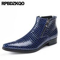 Коренастый острый носок ботильоны из натуральной нешлифованной кожи Формальное Дизайнер Осенняя обувь 2018 змеиной синие мужские платье на