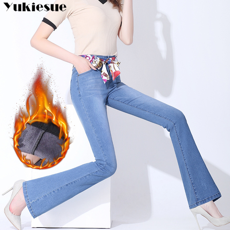 2018 Women Clothing Winter Plus Thick Velvet High Waist   Jeans   for women Denim Trousers Woman Fleece Winter Warm Flare Pants