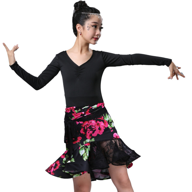 Children kids Ballroom Dancing rumba samba Skirt kid Ruffle spandex cha cha Tango latin dance dress for girls latin salsa dress