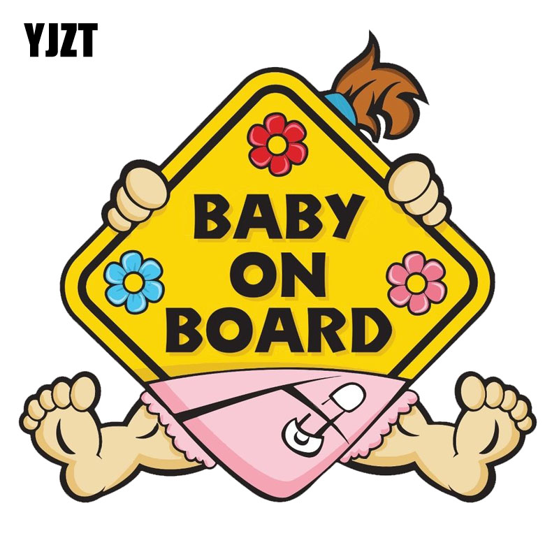 YJZT 11CM*10.1 CM Car Sticker Girl BABY ON BOARD Warning Mark Car Styling Reflective Decal C1-7318