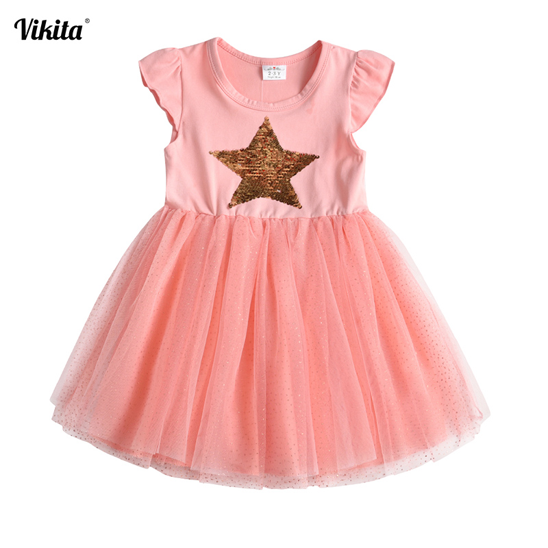 VIKITA Children Dresses Sleeveless Kids Girls Sequined Princess Dress Baby Girls Summer Dresses For Girl Toddlers Tutu Dress