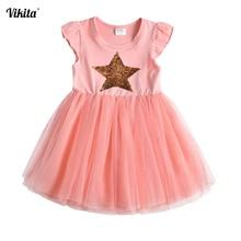 цена на VIKITA Children Dresses Sleeveless Kids Girls Sequined Princess Dress Baby Girls Summer Dresses for Girl Toddlers Tutu Dress