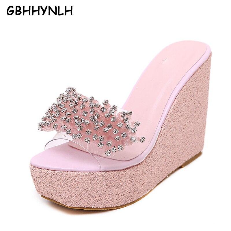 GBHHYNLH Summer Wedge Slippers Platform High Heels Women Slipper Outside Crystal Shoes Wedge Slipper Flip Flop