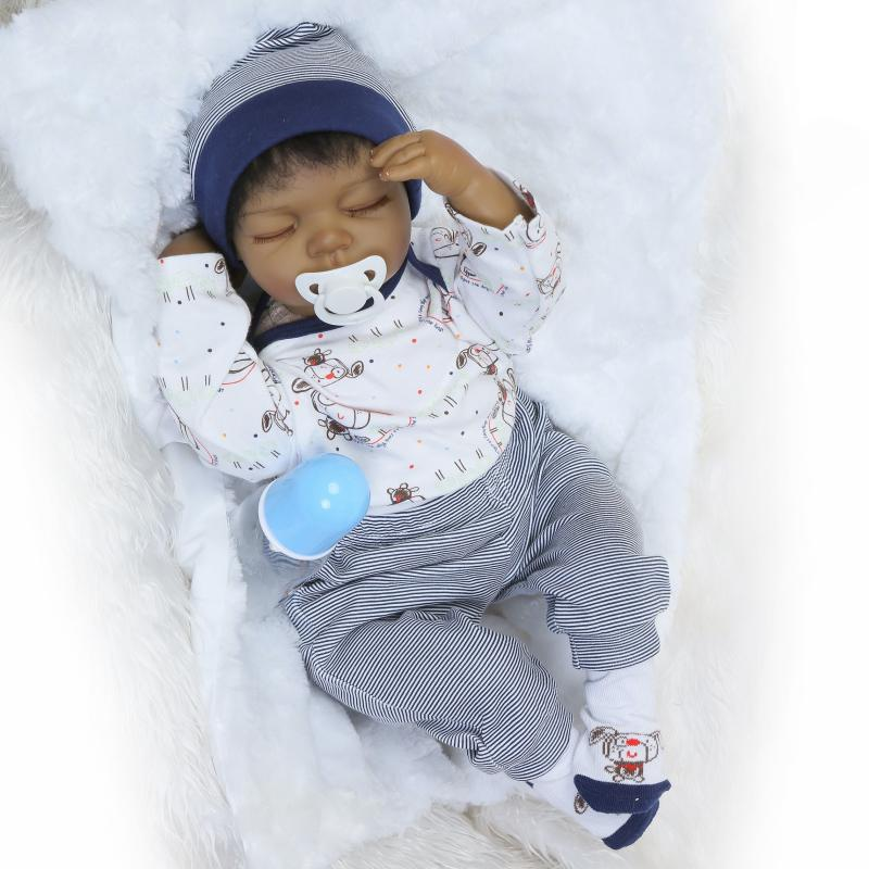 NPKCOLLECTION 55cm Silicone Reborn Black Skin Baby Sleeping Boy Doll Toy Lifelike 22inch Newborn Babies Dolls Girl Birthday Gift 50cm soft body silicone reborn baby doll toy lifelike baby reborn sleeping newborn boy doll kids birthday gift girl brinquedos