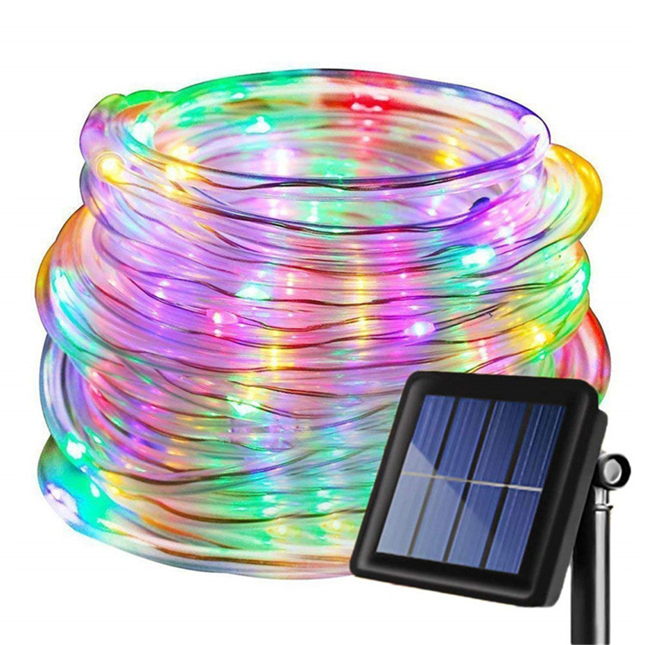 LED Solar Sensor Strip Lights Outdoor Fairy Lighting String Copper Wire Tube Light Street Garland Decors For Garden Patio Trees
