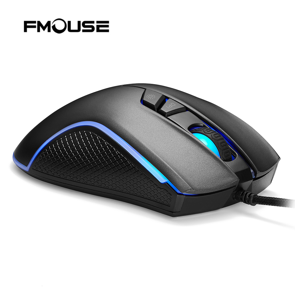 FMOUSE F300 4000 DPI Programmable 7 Buttons RGB Backlit Wired Optical Gaming Mouse for Laptop Desktop Computer PC Gamer Mice