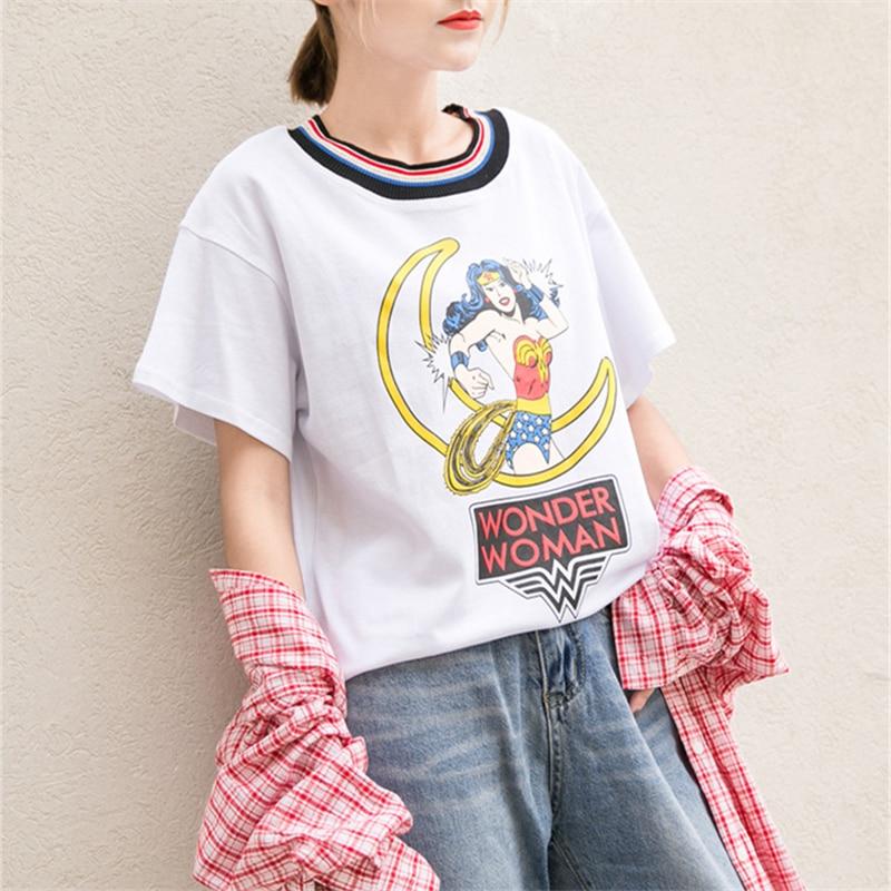 Summer Fashion Harajuku White T shirt Female Loose Rainbow Stripe Collar Cartoon Printed Tops Short Sleeve Casual T-shirts Women multicolor stripe short sleeve loose t shirt
