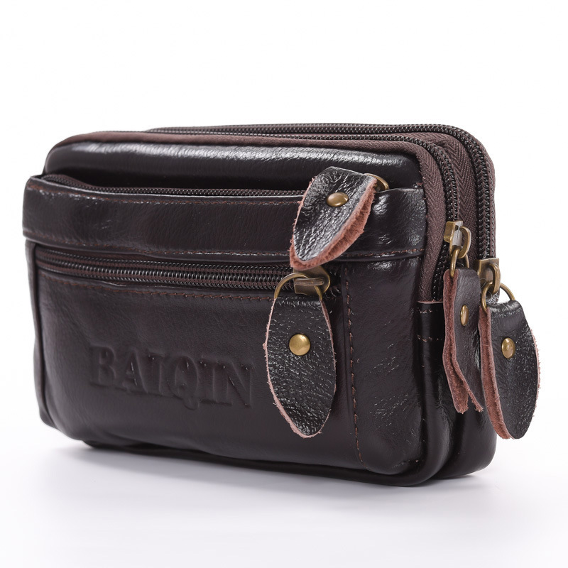 BYCOBECY Phone Coin Card Waist Bag Multi-function Outdoor Fanny Pack Men And Women Belt Bags Waist Pack Cow Genuine Leather