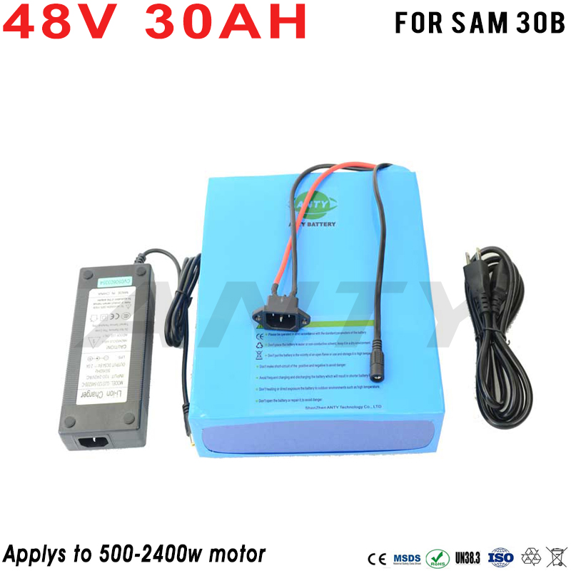 EBike Battery 48V 30Ah Lithium Battery Built-in 50A BMS W/2400W 48V Electric Bikes Motor W/2A Charger Quick Freeshipping battery 48v 14 5ah 1000w for panasonic cell lithium battery 48v with 2a charger built in 30a bms ebike battery 48v free shipping