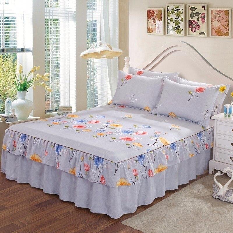 Jeefttby Plant Flower Pattern Decoration Non-slip Bed Skirt Bedding Set 3pcs Large Bed Linen Bed Cover Pillowcase Home Textile